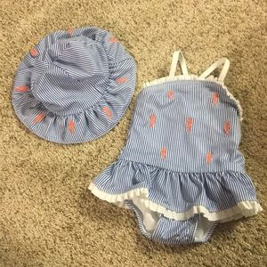 Gymboree 3-6 month swimsuit with hat